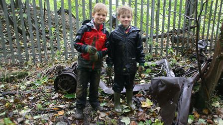 Local cubs Freddie Brooks and Luka Wilson in the woodland area