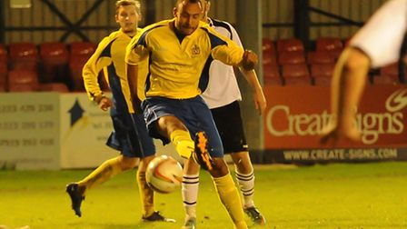James Comley lets fly against Cambridge City. Picture: Bob Walkley