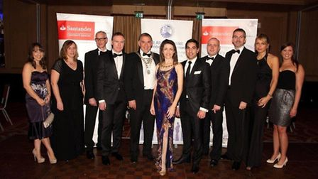 Lee Francis from Santander Corporate & Commercial and guests at St Albans Chamber Christmas Ball