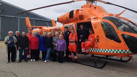 The charity stall team meets the Magpas medics they will be supporting.