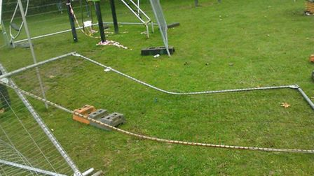 Fences put up to cordon off the vandalised equipment were also damaged