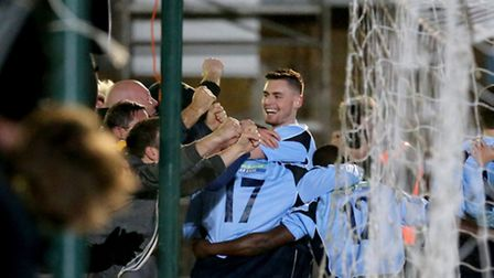 James Kaloczi and the Saints' supporters celebrates Greg Ngoyi winning goal. Picture: Leigh Page