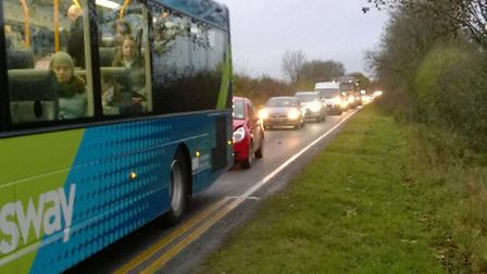 A141 bus crash near Warboys. Picture by Joshua Griffith