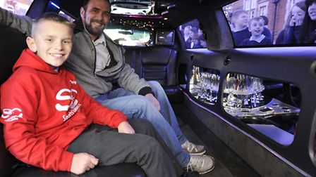 Ramsey Junior School pupil Charlie Stacey-Tate, being chauffeur driven to Wembley, to be and England