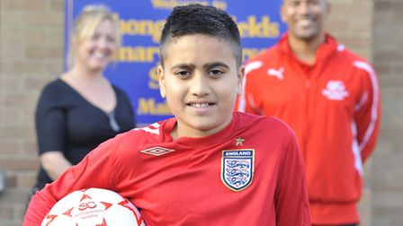 Thongsley School pupil Arbaaz Mir (11) who is going to be a mascot at the England v Chile football a