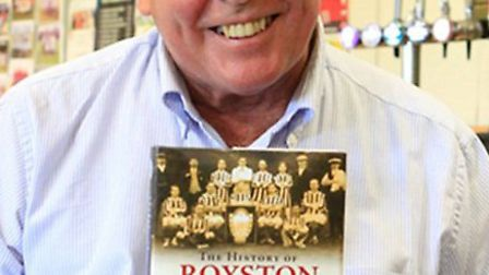 Alan Barlow with his new book on Royston Town FC