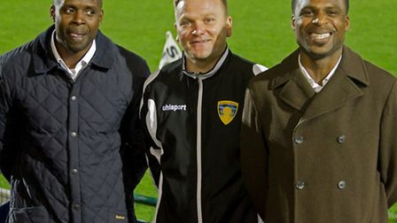 Gary King and the Abbey brothers; the new management team at St Neots Town. Picture: Claire Howes.