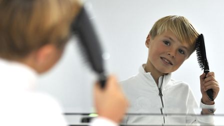 Loves Farm youngster Mason Hickey, who won a modelling competition at the Grafton Centre