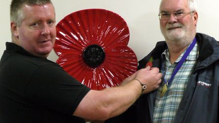 RBL Royston chairman Chris Murphy launches the 2013/14 poppy appeal with Cllr Bob Smith
