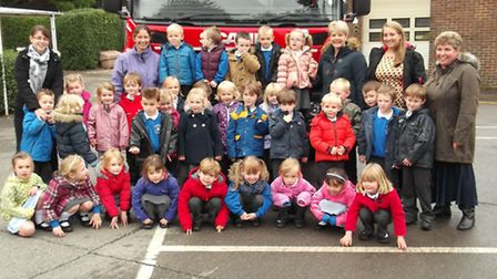 Bassingbourn Primary School pupils at the fire station