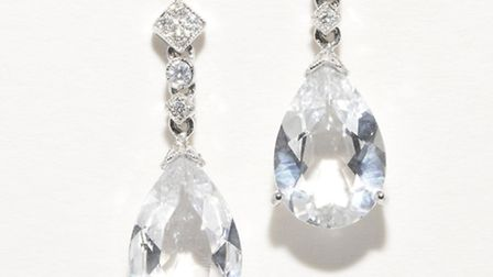 The vintage diamond and white topaz, pear-shaped drop earrings