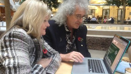 St Albans MP Anne Main with legendary Queen guitarist Brian May