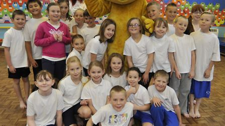 Pudsey Bear visits Middlefield School, Eynesbury, with year 4 pupils