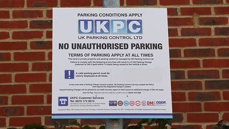 A UKPC parking sign on Goldsmith Way, St Albans