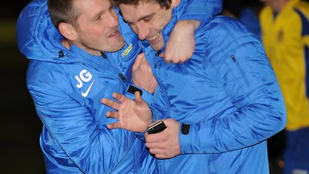 James Gray and Graham Golds celebrate after City's FA Trophy penalty shootout win against Billericay