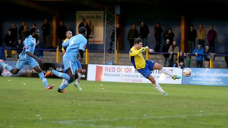 John Frendo scored a stunning volley against Billericay in the FA Trophy. Picture: Leigh Page