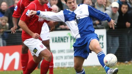 John Frendo in action for Ware against Kidderminster Harriers in 2007's FA Cup first round proper.