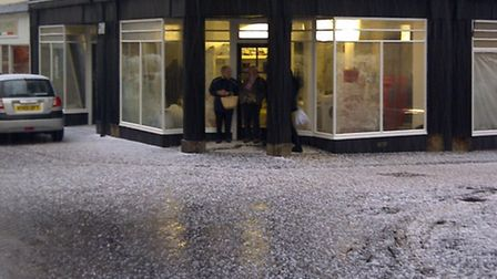 This picture sent in by David Hatton shows the hail in Royston High Street