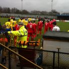 St Albans City and Frome Town make their way onto the Clarence Park pitch ahead of their Calor South