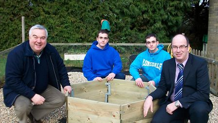 David (left) and Daniel (right) English, NCS volunteers with Oliver Heald and Andrew Reade, Head of