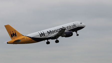 A Monarch plane taking off from London Luton Airport