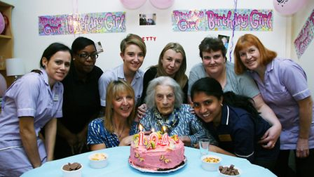 Betty Leete celebrating her 104th birthday with care home staff
