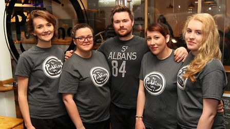 The Pudding Stop owner Jonny with Ruth, Michaela, Melissa and Lauren outside the new shop