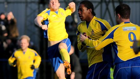 The Saints in good spirit following Jamal Lowe's opening goal. Picture: Leigh Page