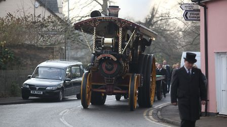 Steam engine funeral procession through Bassingbourn for Stan Martin