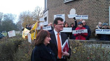 Protest against Helioslough's scheme for the Radlett Airfield outside Herts county council in Hertfo