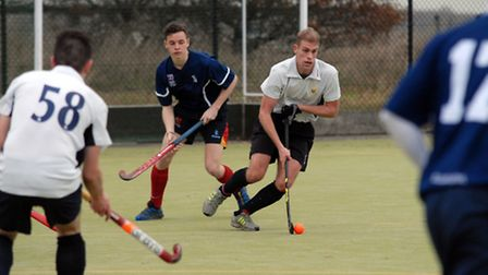 Todd Bains on the ball for Harpenden against Colchester. Picture: Kevin Lines