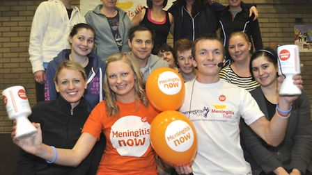Fitness classes in aid of Meningitis Now at One Leisure, St Ives, with (front left-right) Natalie Ri