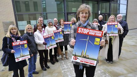 Molesworth Wind Farm Action Group, campaigning on day one of the hearing at Huntingdonshire District