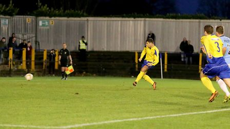 John Frendo carmly pulls the Saints level from the penalty spot. Picture: Leigh Page