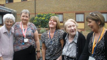 Gladys Geeves (resident), Marion Truszkowska (Care Team Manager), Tracey Bailey (Careworker), Brenda