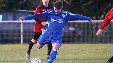 Jimmy Hartley scored twice for London Colney on Saturday, Picture: James Whittamore