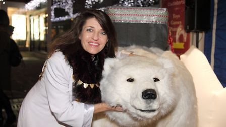 St Albans mayor Annie Brewster with Bjorn the polar bear at the St Albans Christmas Market