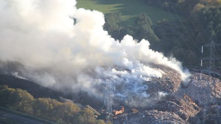 Aerial shot of the fire at the recycling depot