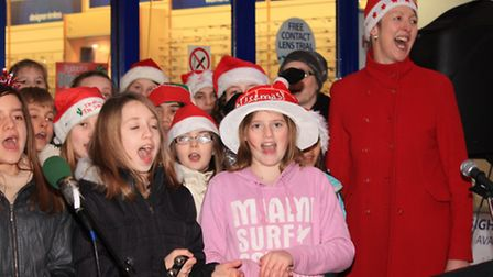 Carol singers from Greneway Middle School (Pic: Clive Porter)