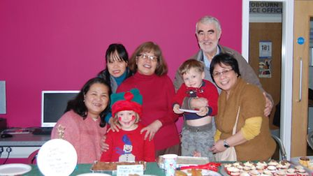Pictured left to right, with Redbourn children, are: Lolita Smith (STAPH treasurer), Lorna Ahsa, Mal