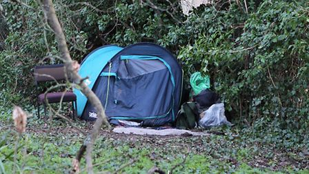 A person has been staying in a tent in the grounds of the Abbey Orchard