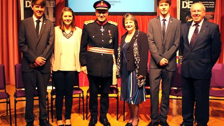 Pictured at Hinchingbrooke House are (from left) Jamie and Zoe Fox, Lord-Lieutenant of Cambridgeshir