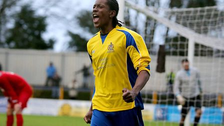 Jamal Lowe celebrates his opening goal of the afternoon. Picture: Leigh Page