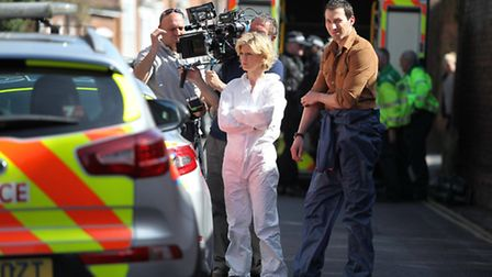 Silent Witness star Emelia Fox during fliming in St Albans