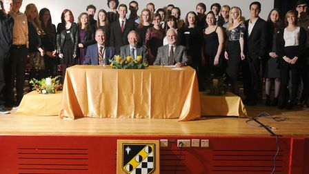 All the award winners with (L-R) Dr Michael Firth, headteacher, Professor Michael Thorne, and Gary G