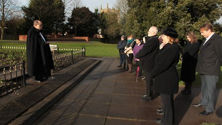People attend Royston Holocaust memorial