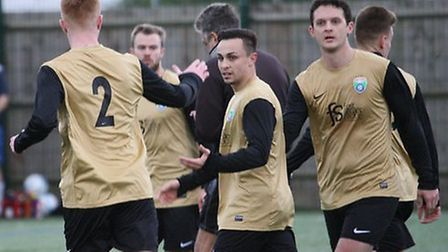 London Colney Reserves celebrate scoring against AFC Dunstable Reserves. Picture: James Whittamore
