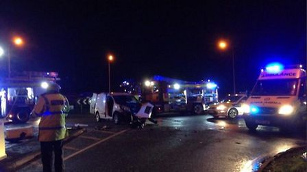 Crash at London Road, St Ives. Picture: BCH Roads Policing Unit