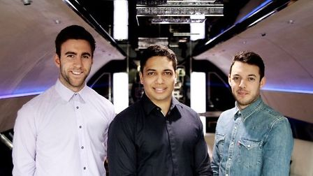 Dragons' Den win for former pupil of St Columba's College, St Albans. From left, Rob Tominey, 'Drago
