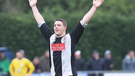 Conor Washington celebrating a hat-trick for St Ives Town against King's Lynn Town. Picture: Louise